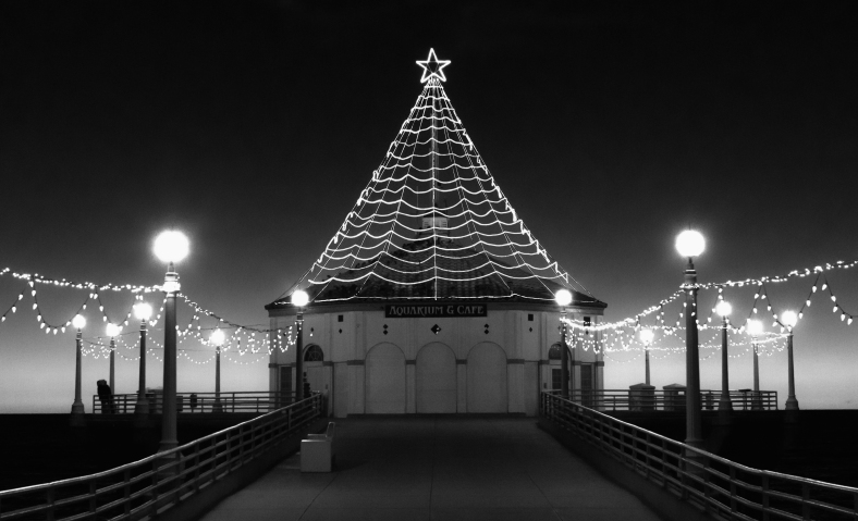 Christmas-Lights-Manhattan-Pier-B&W-by-Mike-Hope
