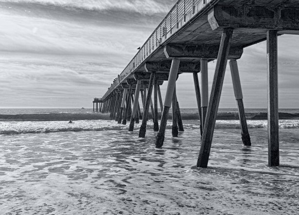 Hermosa-Under-Pier-B&W-by-Mike-Hope