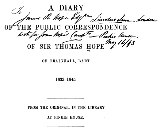 Sir Thomas Hope Diary