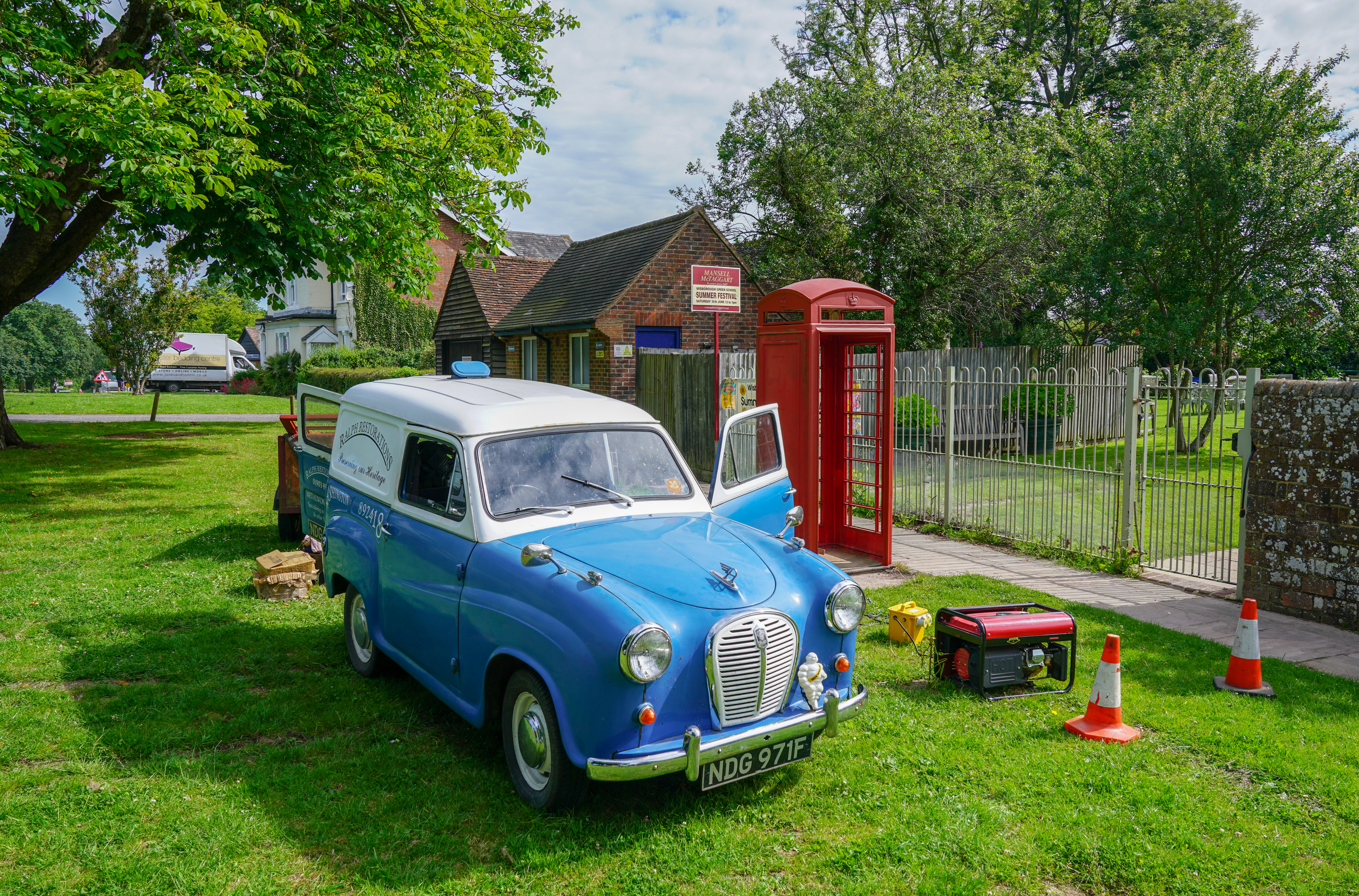 500px Photo ID: 261953523 - Taken on the way through Wisborough Green in West Sussex. The owner of the Van, Ralphs Restorations, was renovating the call box in the background. The vehicle is a 1960's Austin A35